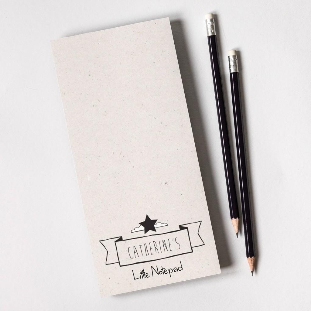 Tear Off Notepad and Plain Pencils - Cardboard Texture