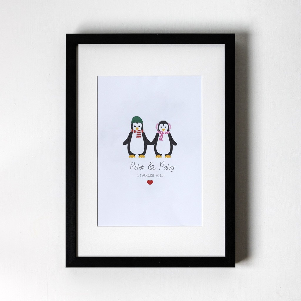 Penguin Design - Personalised Art Print (Black Frame)