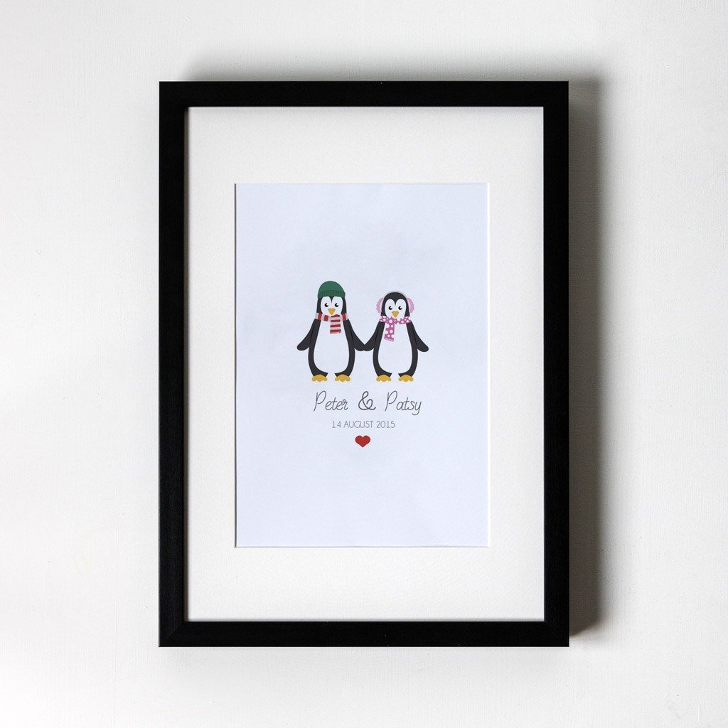 Penguin Design - Personalised Art Print (Black Frame)