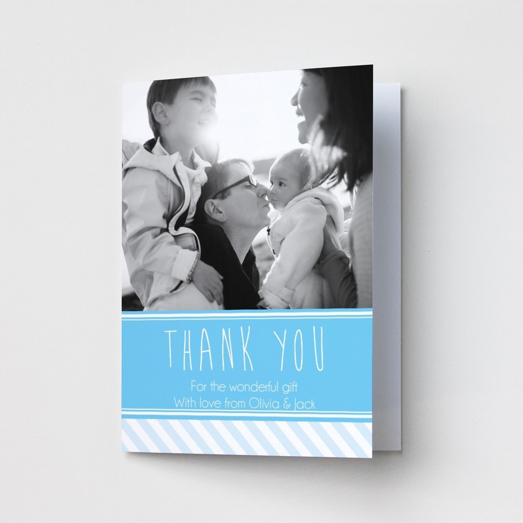 Blue & Stripey Photo Thank You Card