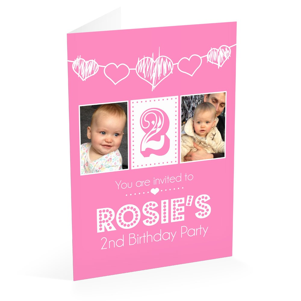 Pink Hearts - Party Invitations