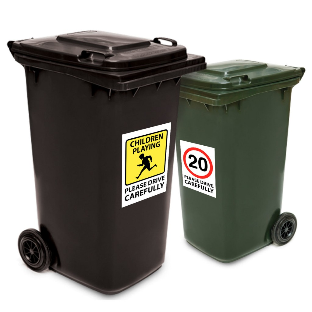 Drive Carefully Wheelie Bin Stickers
