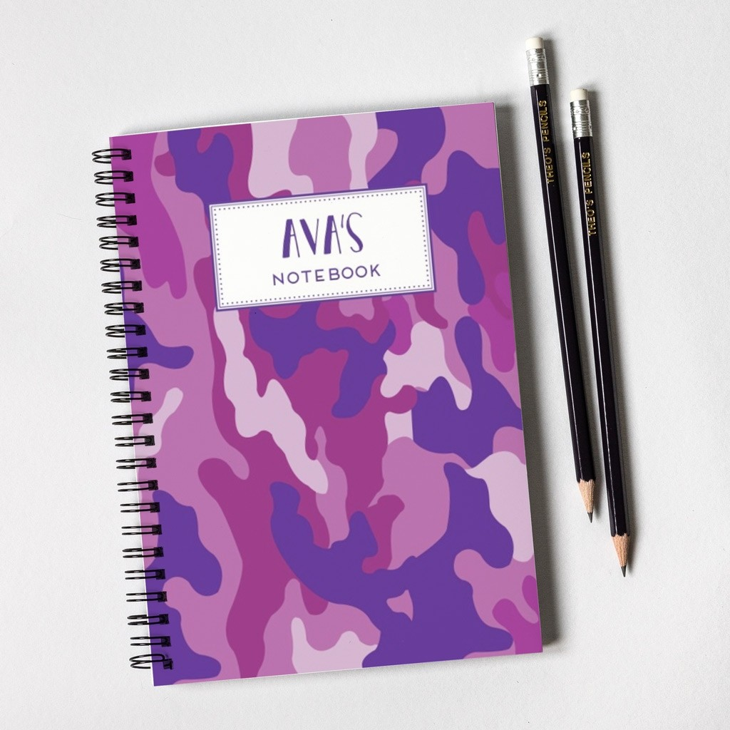 Purple Camouflage Pattern Notebook & Pencil Gift Set