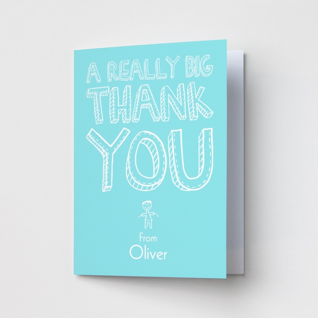 A Really Big Thank You Turquoise - Thank You Card