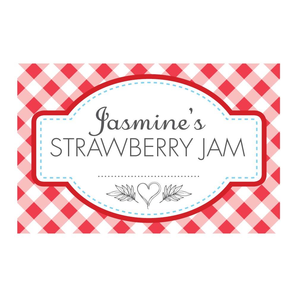 gingham red jam jar labels able labels