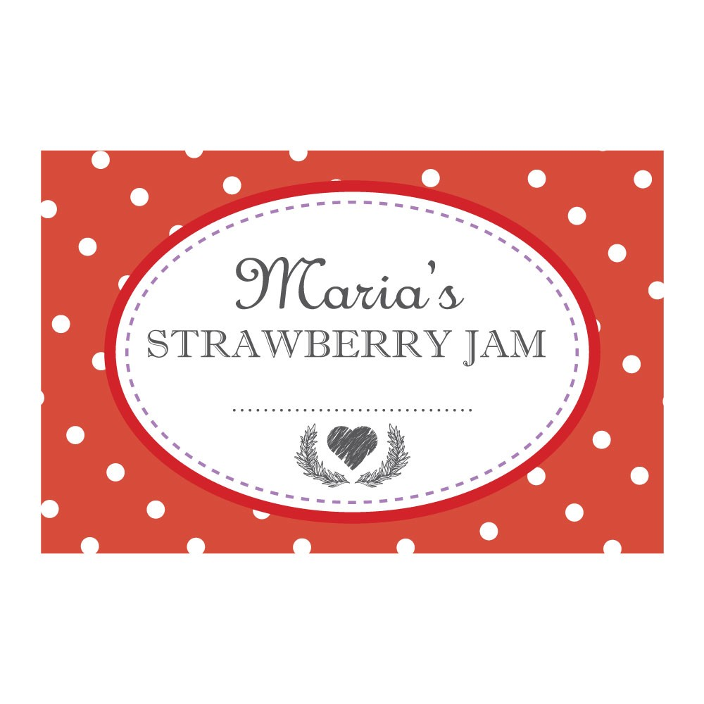 Spotty Red - Jam Jar Labels