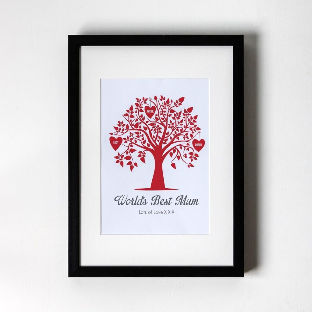 Family Tree - Personalised Framed Art Print (Black Frame)
