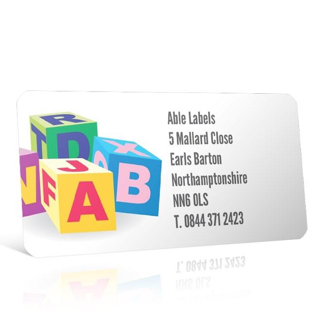 Pre Designed Alphabet Blocks Address Label on A4 Sheets