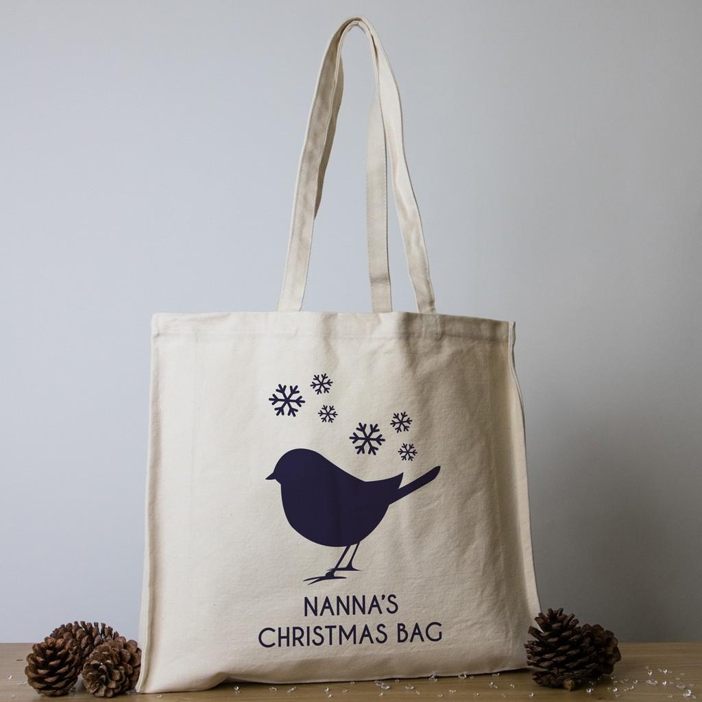 Personalised Christmas Tote Bag - Robin