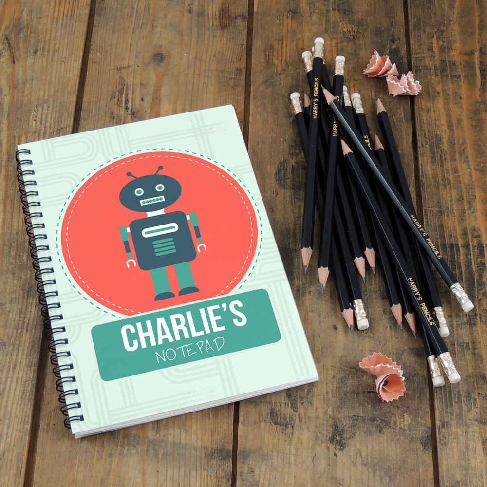 Robot Notebook & Pencil Gift Set