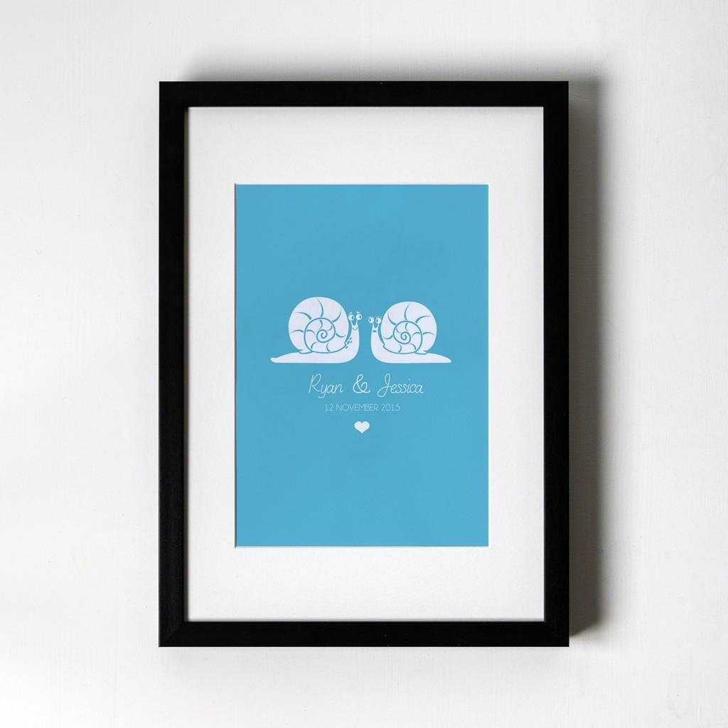 Snail Design - Personalised Art Print (Black Frame)