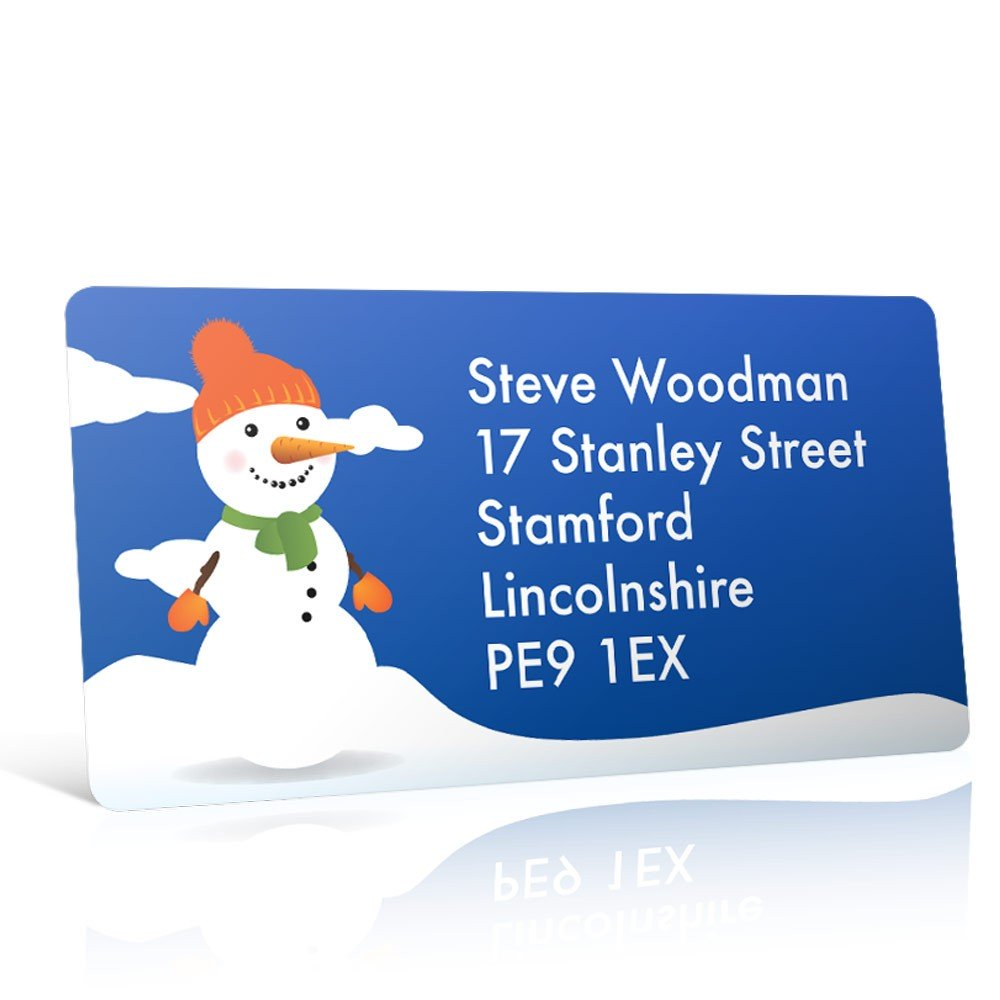 Christmas A4 Sheet Labels - Snowman in the Snow