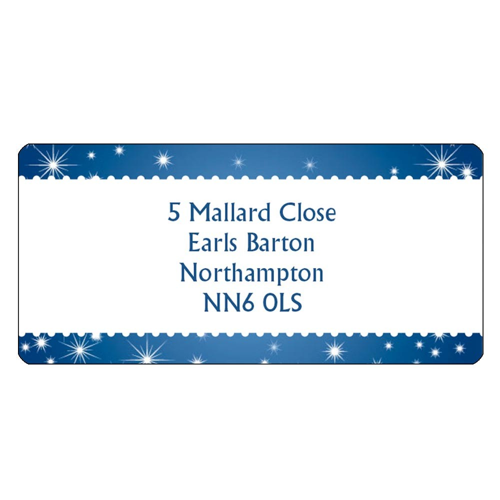 Christmas A4 Sheet Labels - Starry Night Border