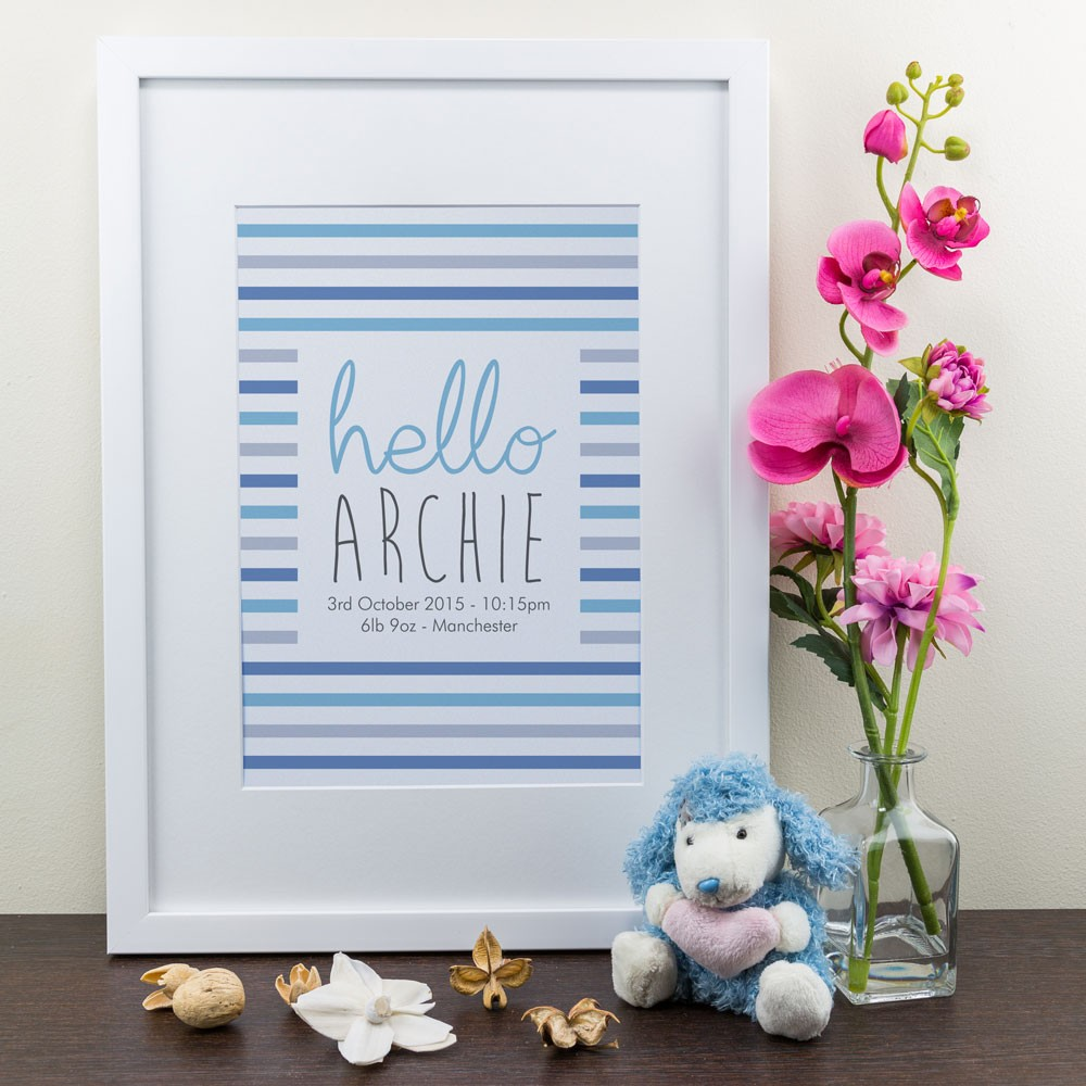 Stripey - Personalised Art Print
