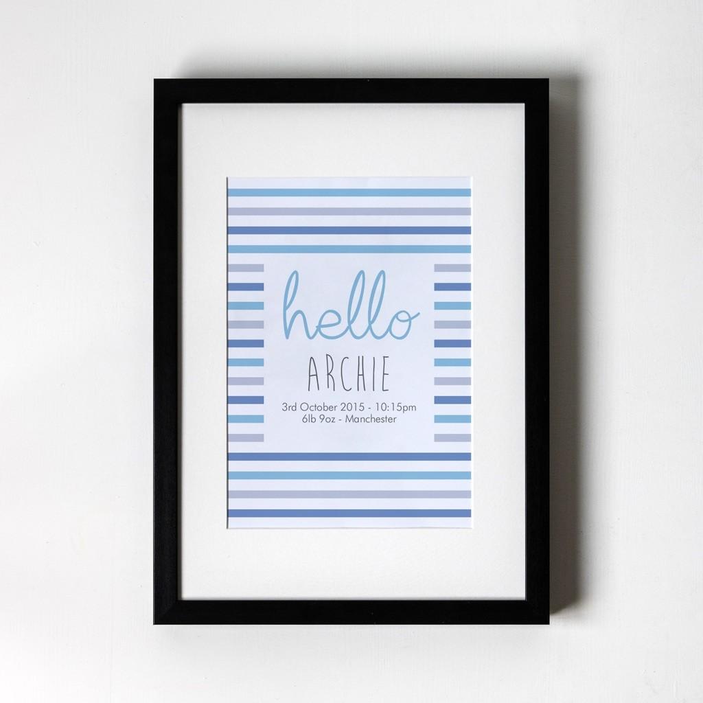 Stripey - Personalised Art Print