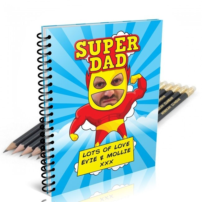 Super Dad Photo Notebook & 12 Graphite Pencils
