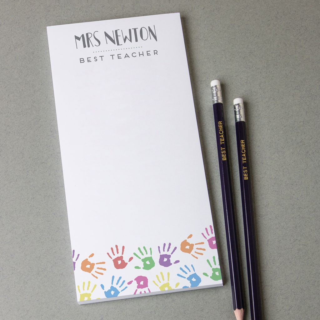Personalised teacher note pad – hand print design