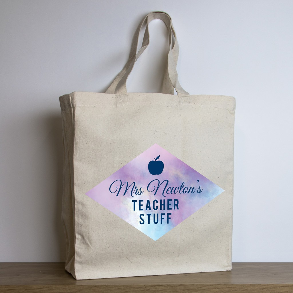 personalised teacher tote bag – purple watercolour design