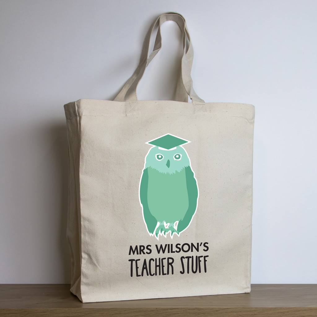 Personalised Teacher Tote Bag – Green Owl