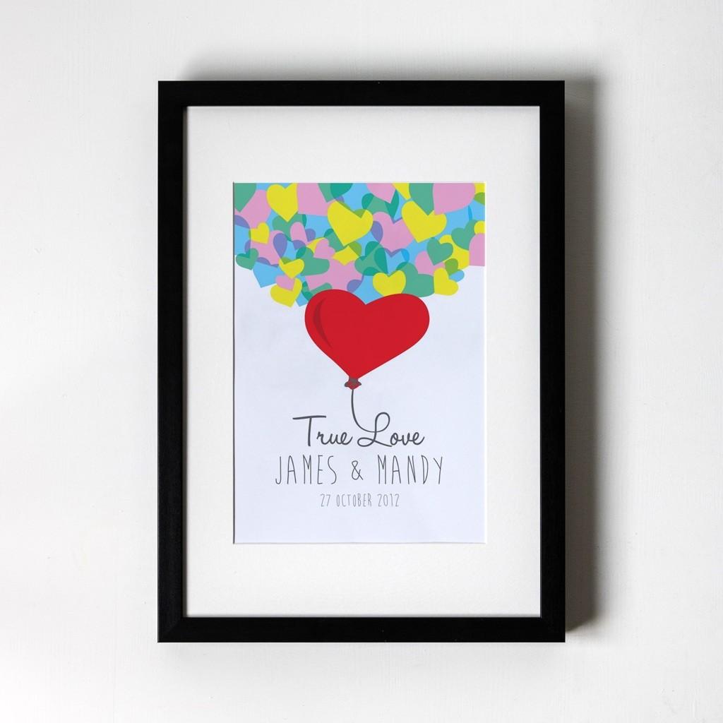 True Love - Personalised Art Print (Black Frame)