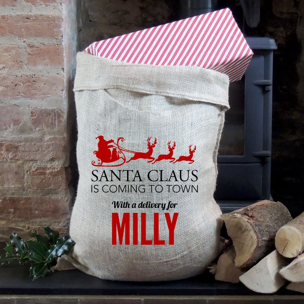 Personalised Christmas Coming to Town Hessian Sack