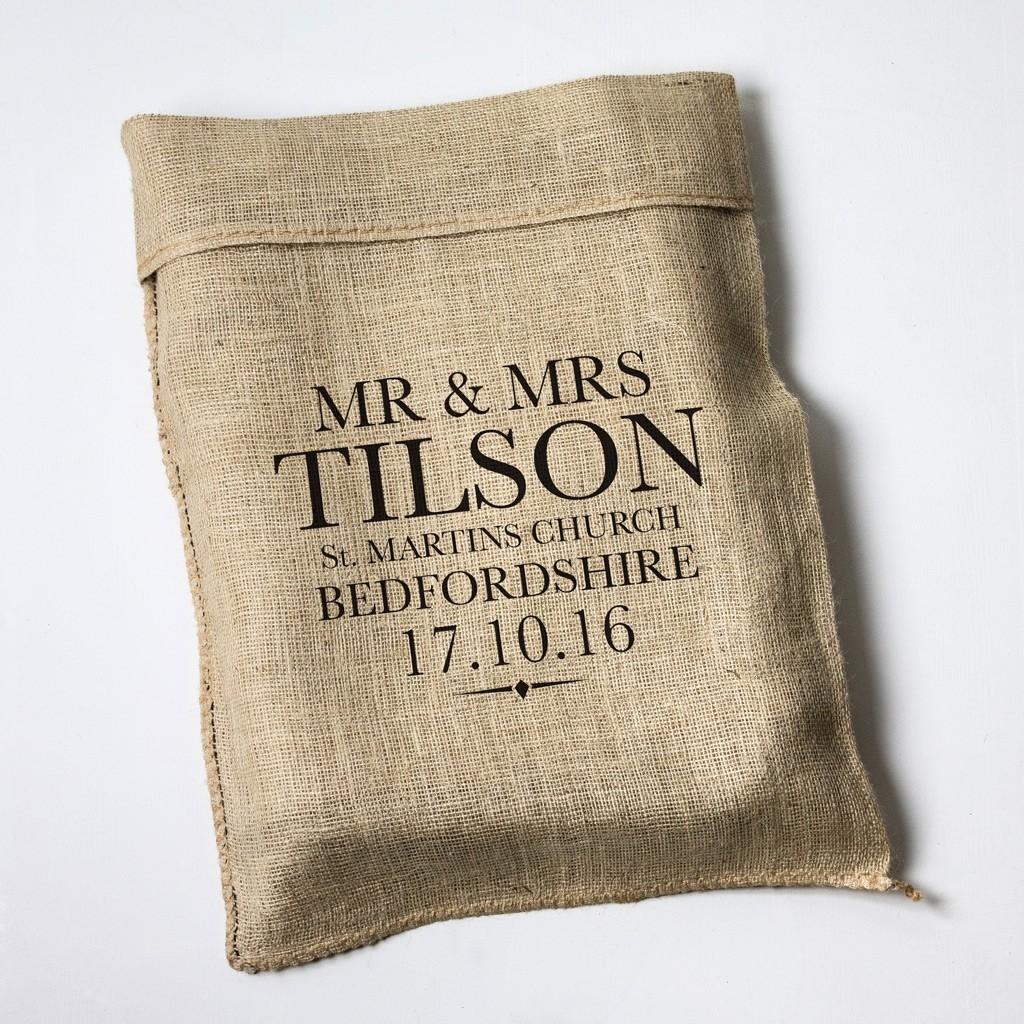 Personalised Wedding Large Letter Hessian Sack