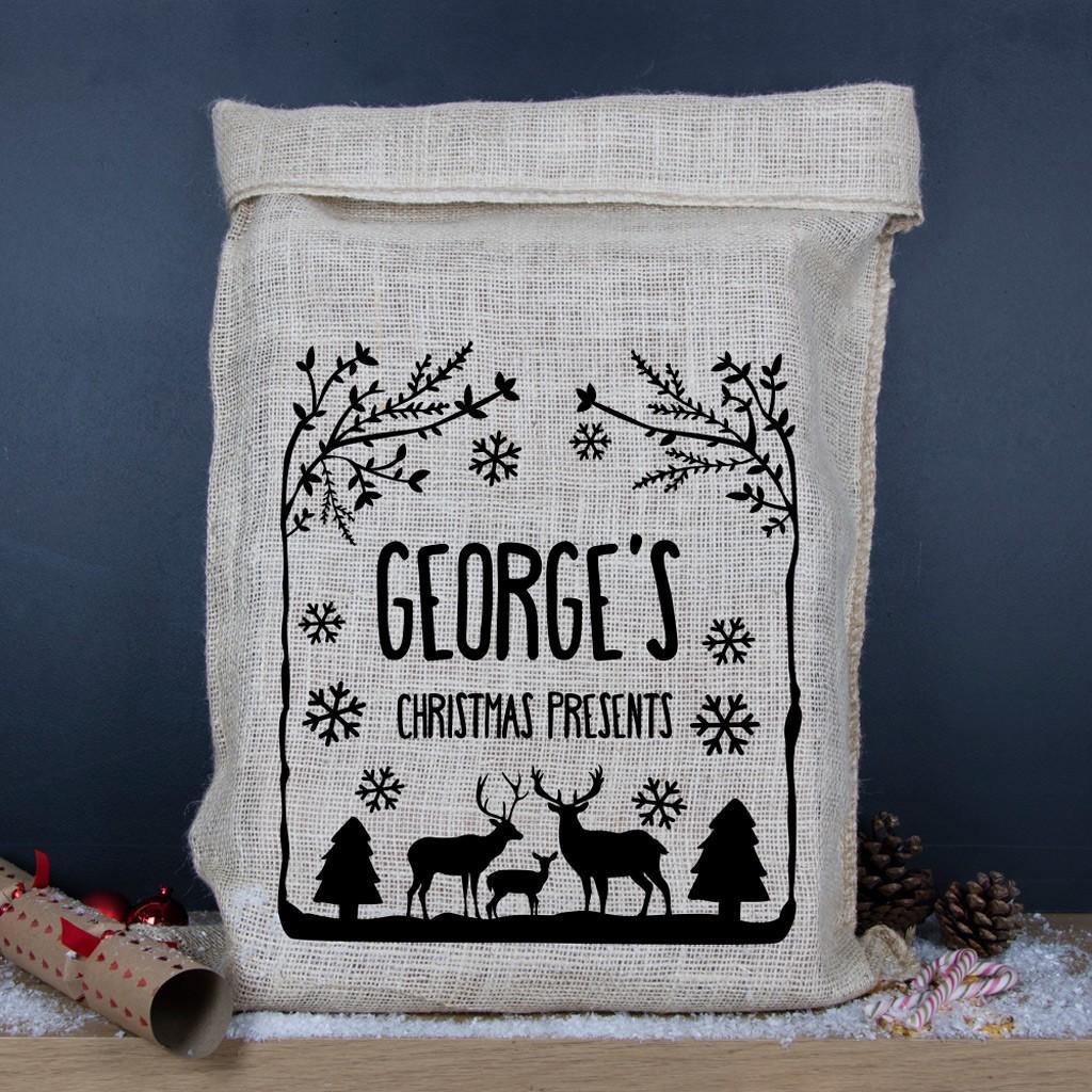 Personalised Christmas Hessian Sack - Winter Wonderland