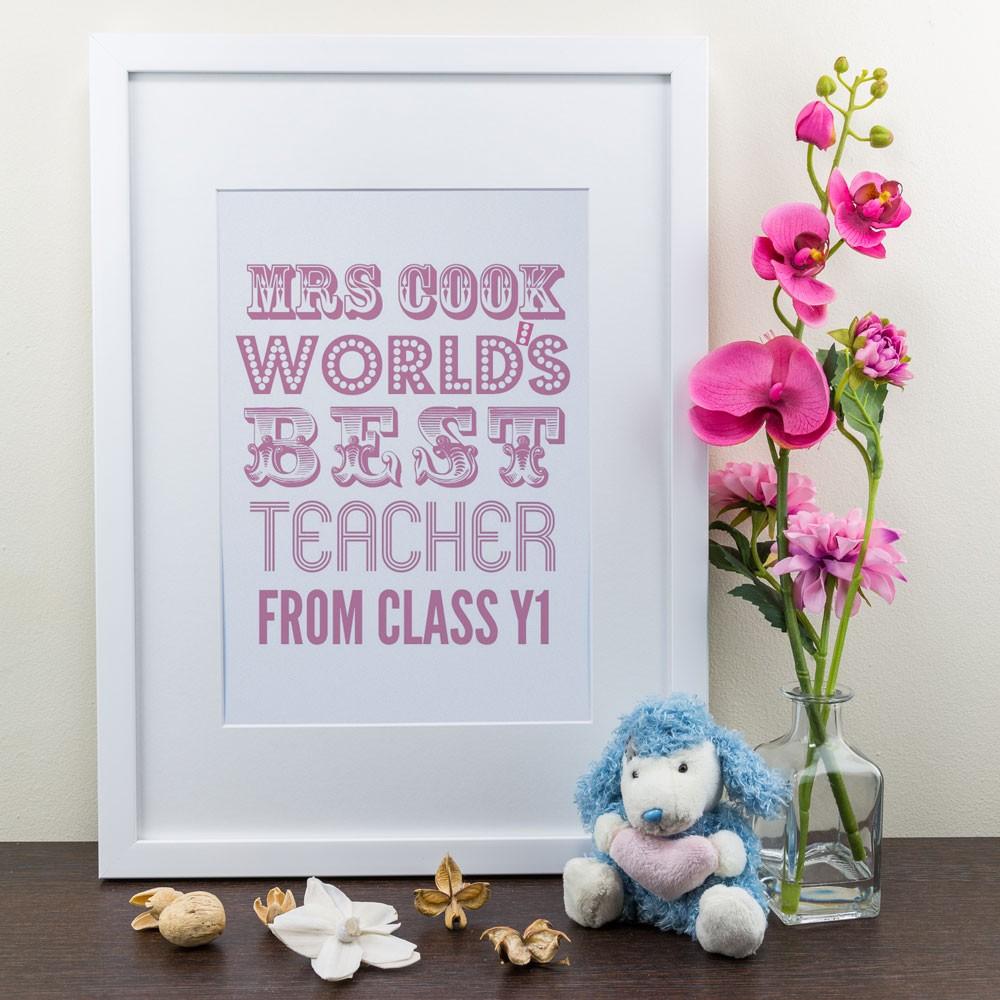 World's Best Teacher Pink - Personalised Art Print