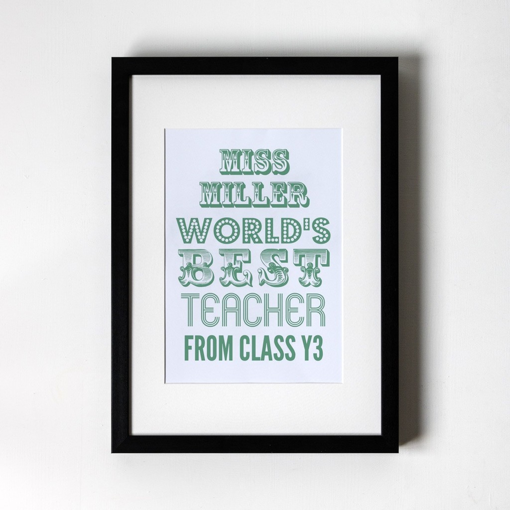 World's Best Teacher Green - Personalised Art Print