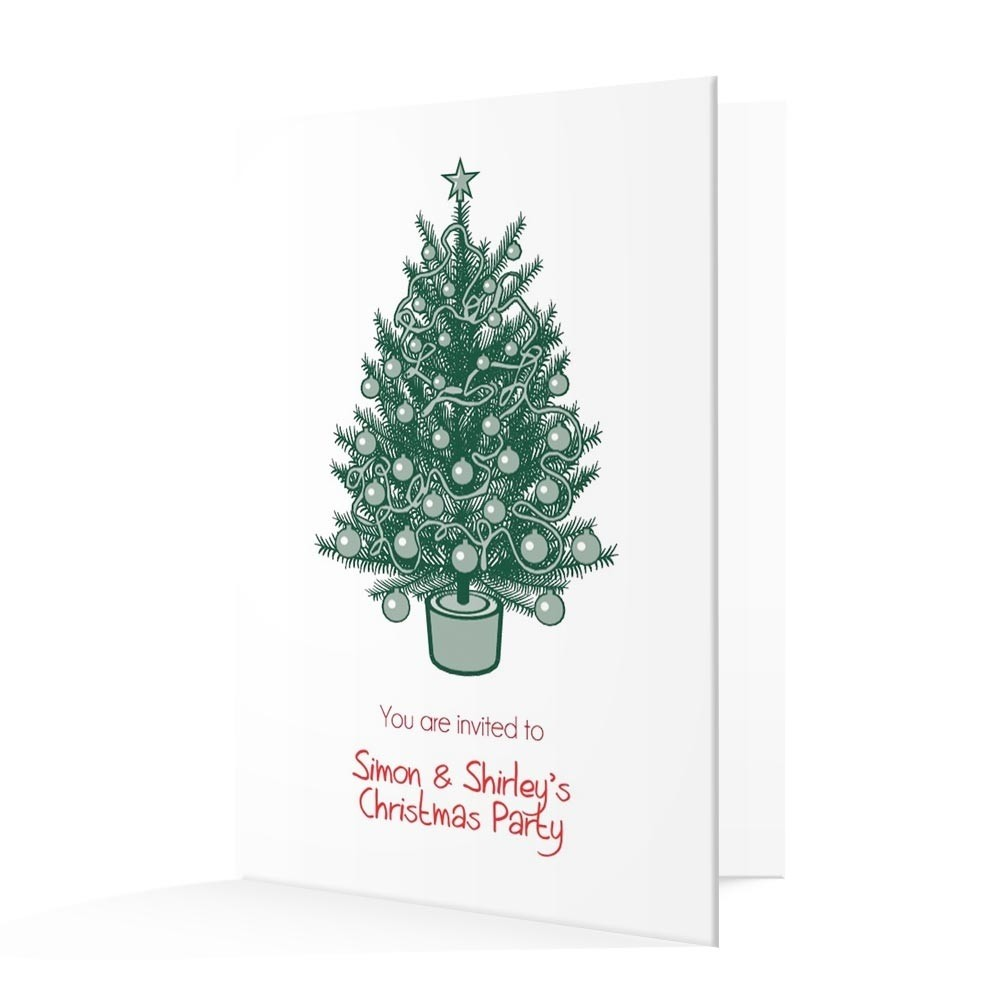 Christmas Invitation Card - Traditional Christmas Tree