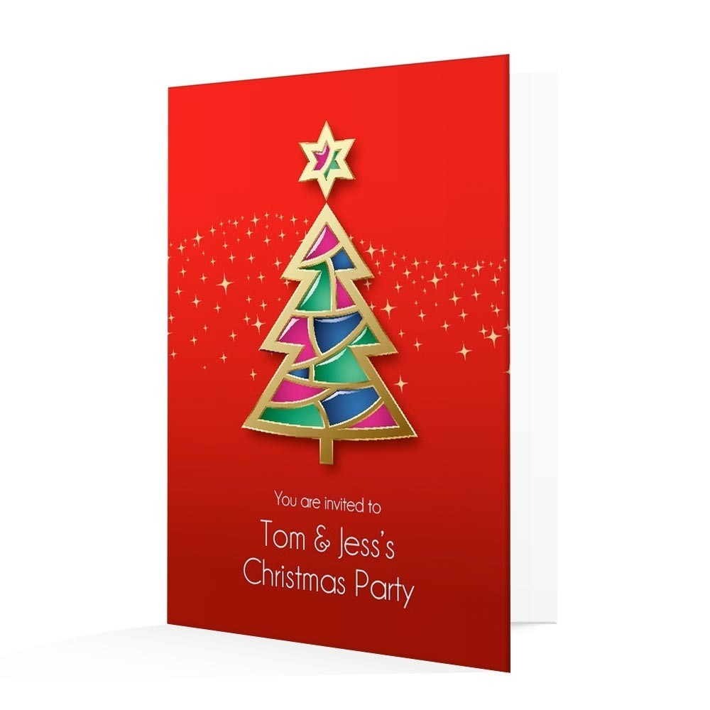 Christmas Invitation Card - Contemporary Christmas Tree