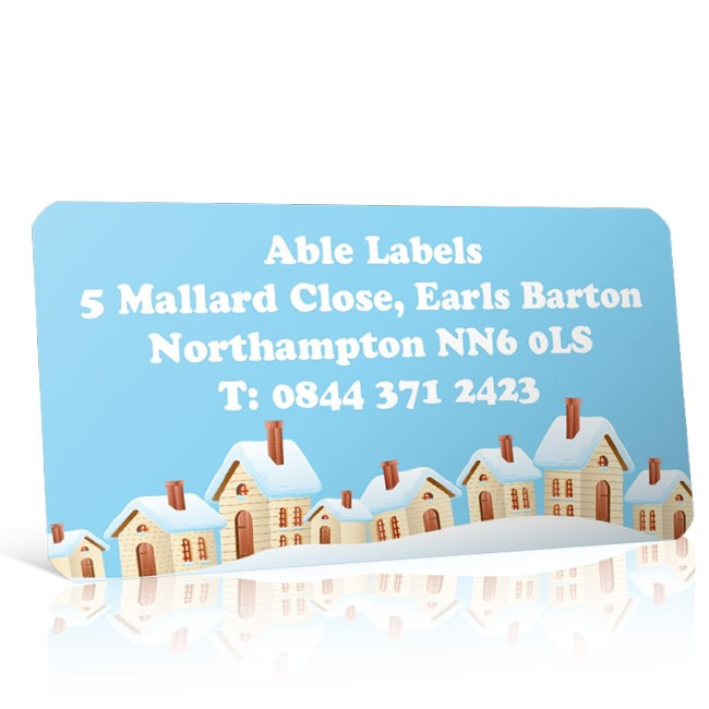 Christmas A4 Sheet Labels - Snow Covered Houses