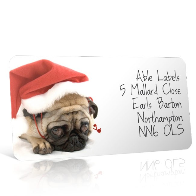 Christmas A4 Sheet Labels - Puppy in a Santa Hat 2