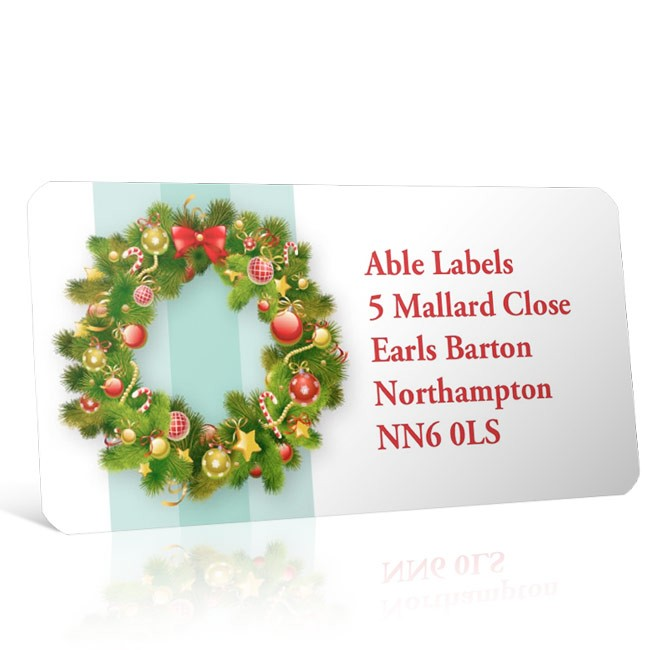 Christmas A4 Sheet Labels - Wreath