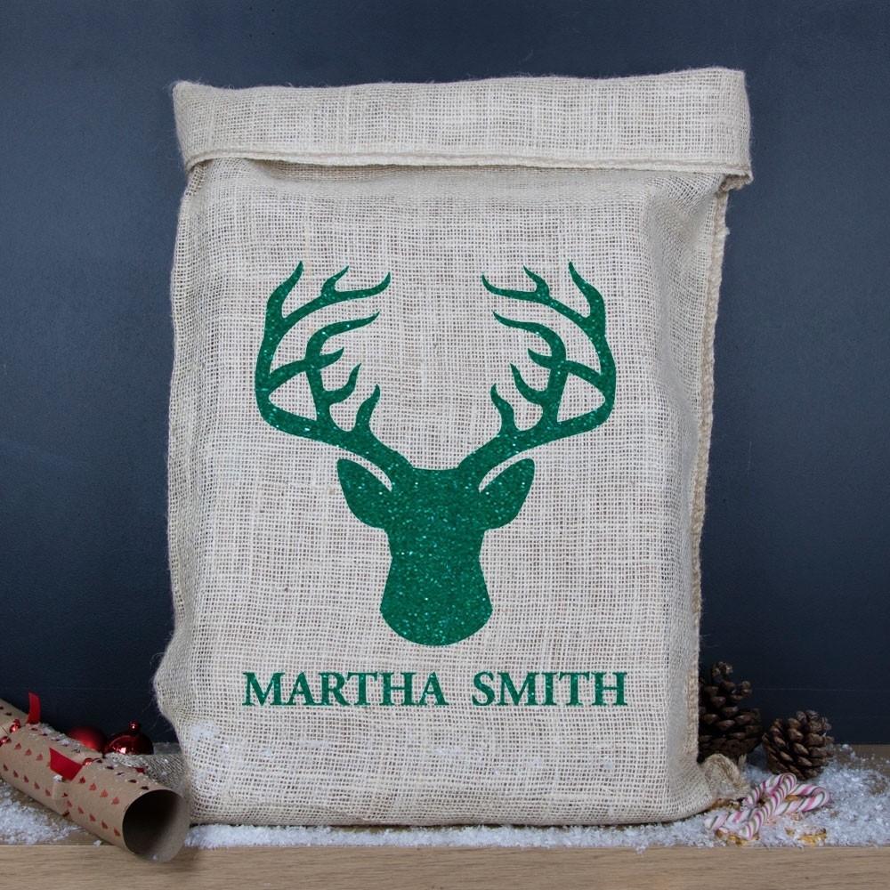 Personalised Christmas Reindeer Silhouette Hessian Sack