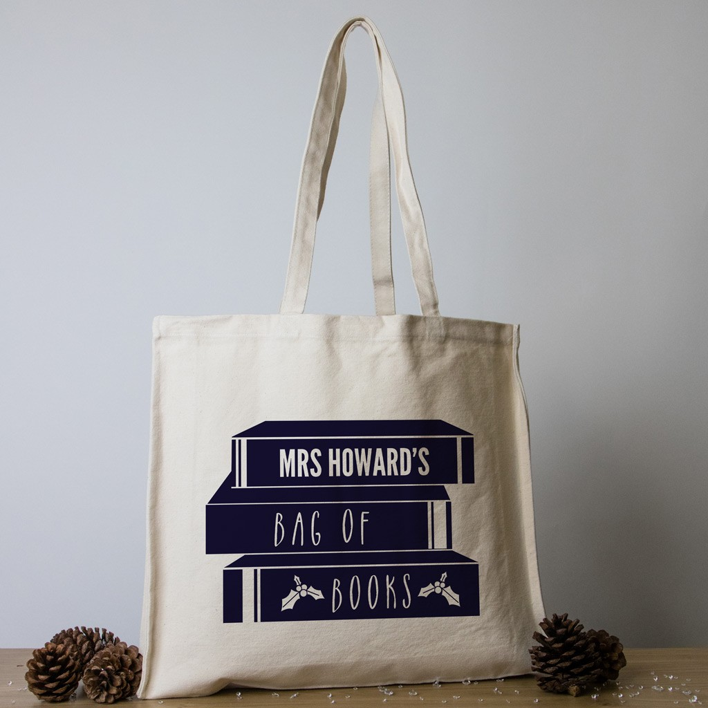 Personalised Teacher Christmas Tote Bag - Pile of Books