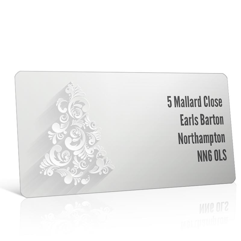 Christmas A4 Sheet Labels - Silver Christmas Tree