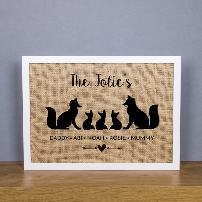Family of Fox's - Personalised Hessian Art Print