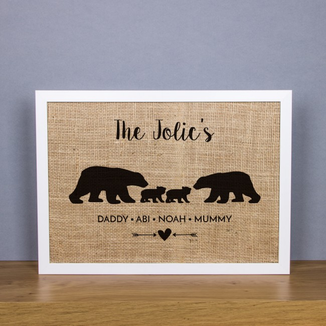 Family of Bears - Personalised Hessian Art Print