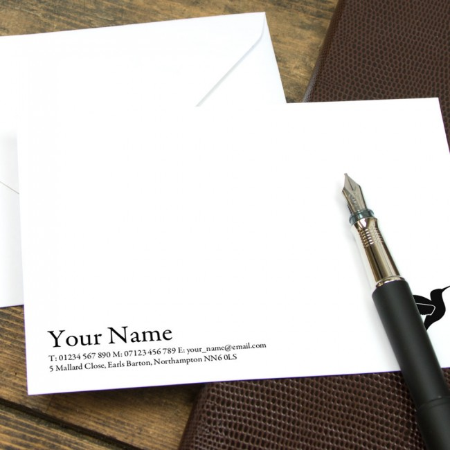 Classic traditional serif motif correspondence cards