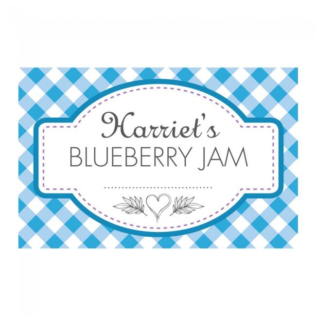 Gingham Blue - Jam Jar Labels