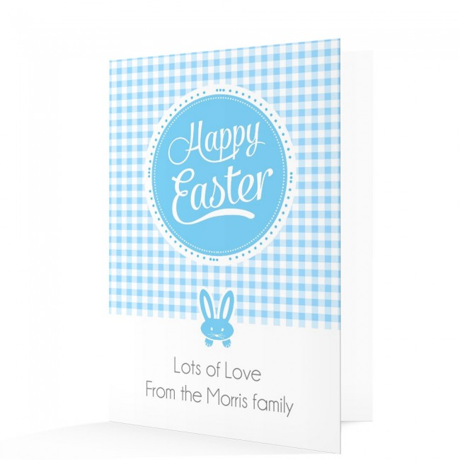 Blue Happy Easter Card