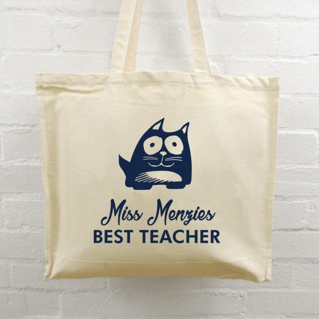 Best Teacher Tote Bag - Cat