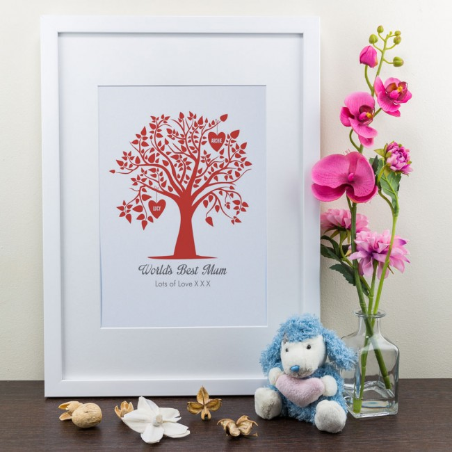 Family tree personalised framed art print