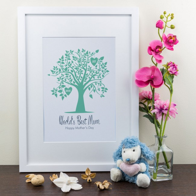 Green Family Tree - Personalised Art Print