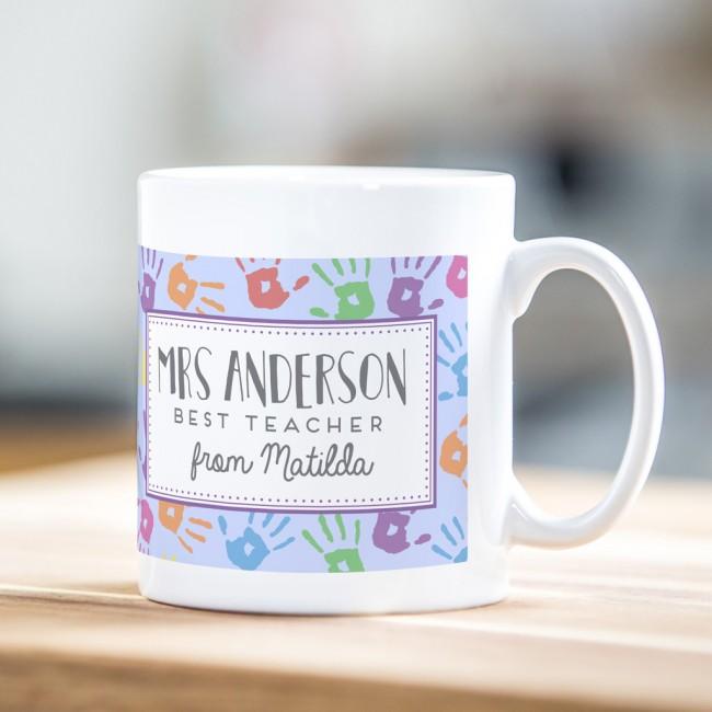 Personalised teacher mug – hand print design
