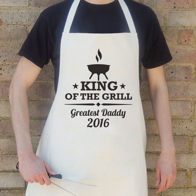 Father's Day King of the Grill Apron - Cream