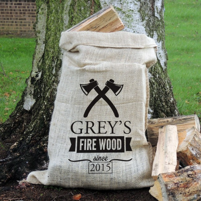 Personalised Axe Motif Hessian Log Sack