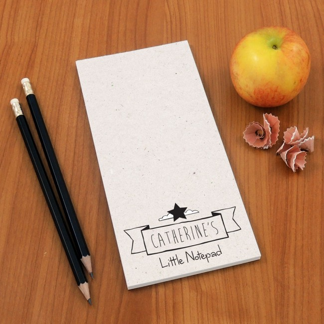 Tear Off Notepad and Plain Pencils - Cardboard Texture