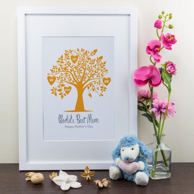 Orange Family Tree - Personalised Art Print
